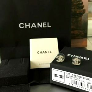 CHANEL CC Silver-tone & Crystal Studs New in Box